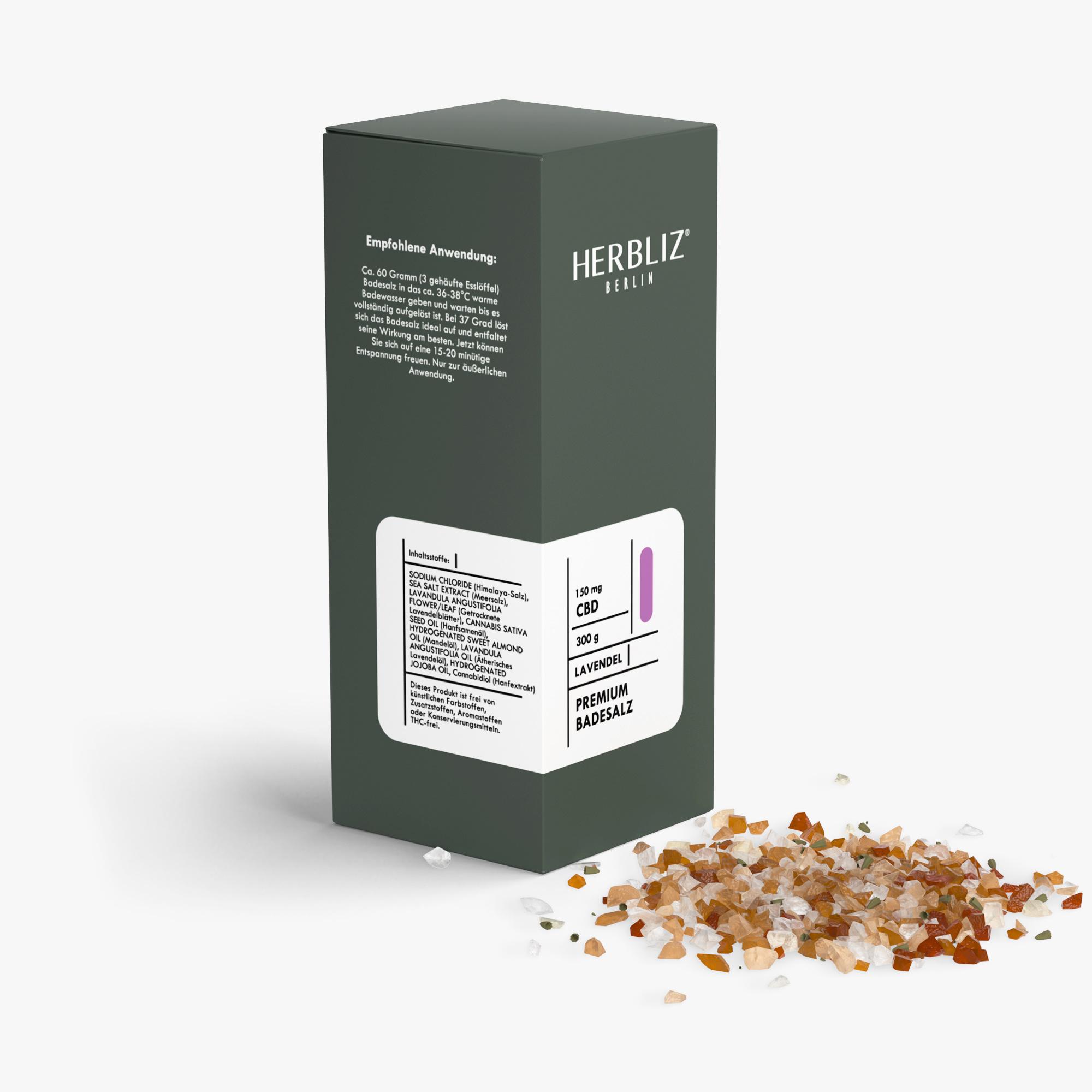 HERBLIZ CBD Badesalz - 4 Sorten - 150 mg - Lavendel