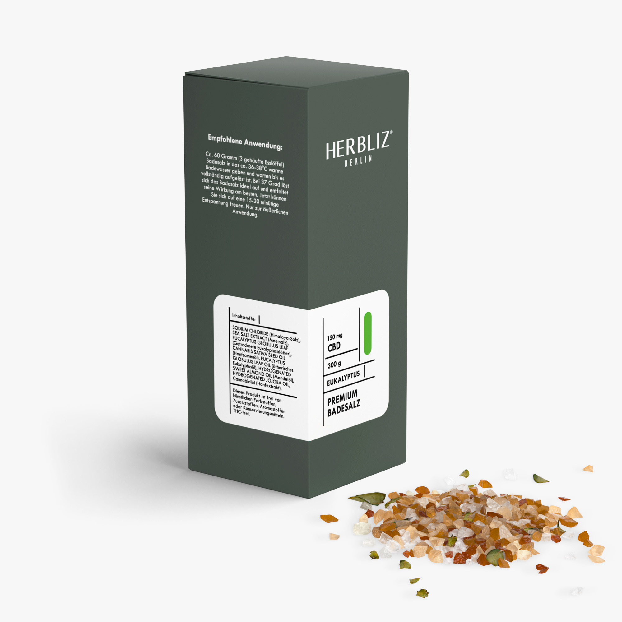 HERBLIZ CBD Badesalz - 4 Sorten - 150 mg - Eukalyptus