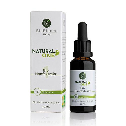 BioBloom Bio Hanf Öl Natural ONE – 30ml – 1% CBD Aromaöl