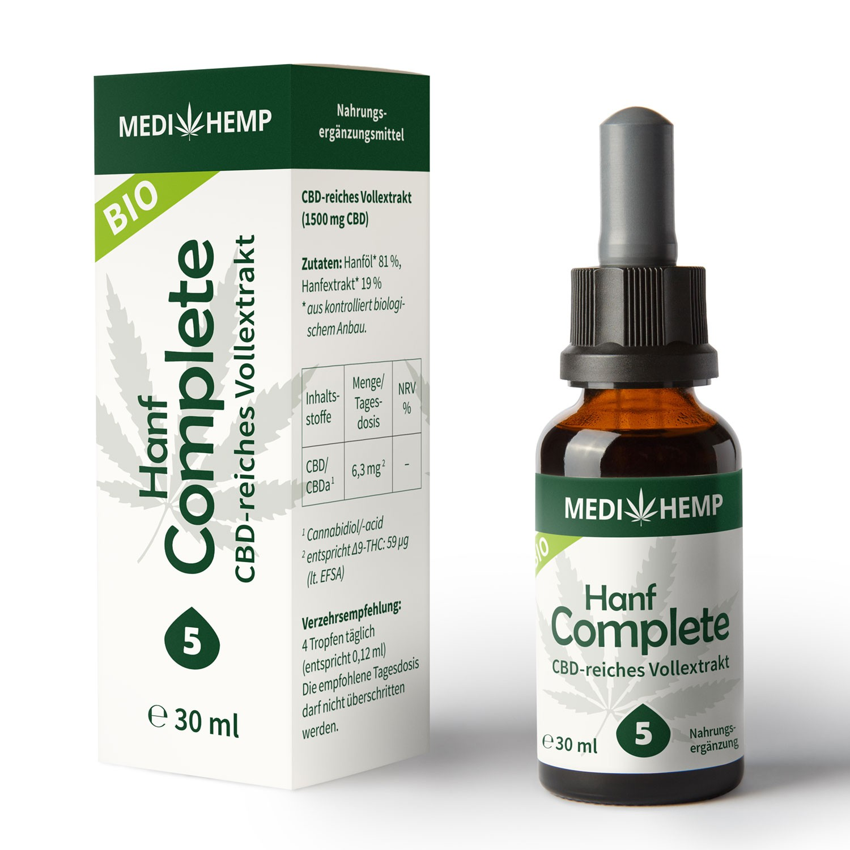 Medihemp Bio Hanf Complete Öl - 5 % - 30ml - 1500 mg CBD Aromaöl