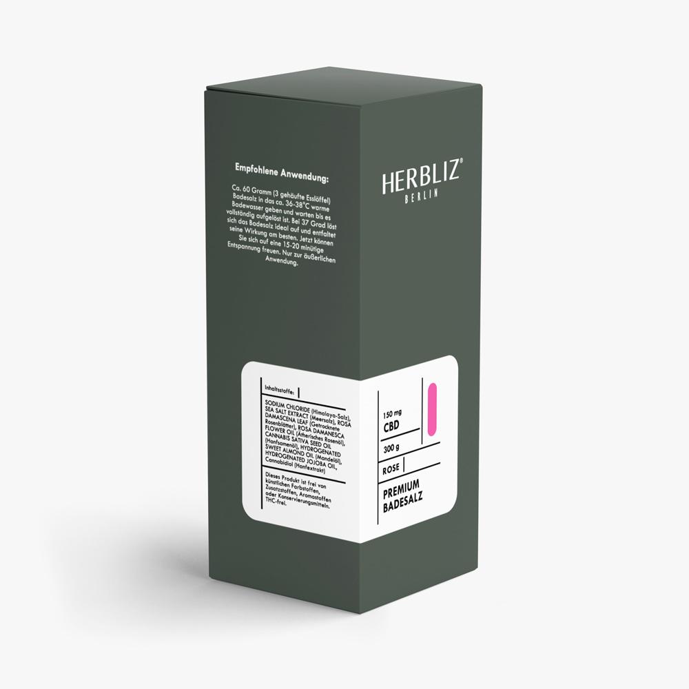 HERBLIZ CBD Badesalz - 4 Sorten - 150 mg - Rose