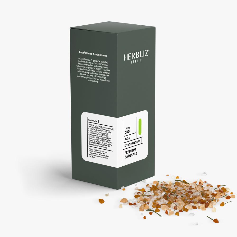 HERBLIZ CBD Badesalz - 4 Sorten - 150 mg - Zitronengras