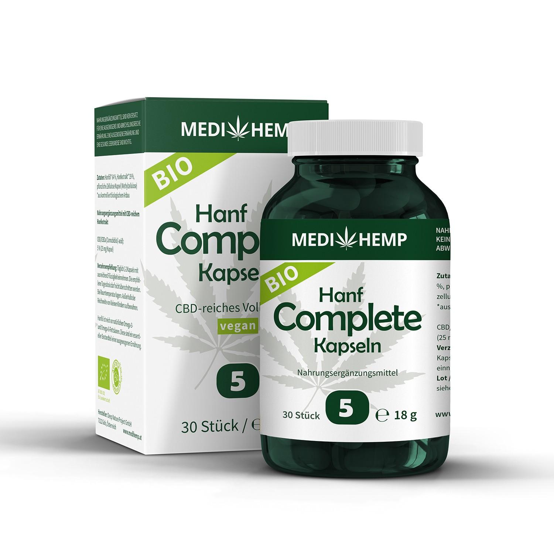 Medihemp Bio Hanf Complete Kapseln - 5 % - CBD Aroma