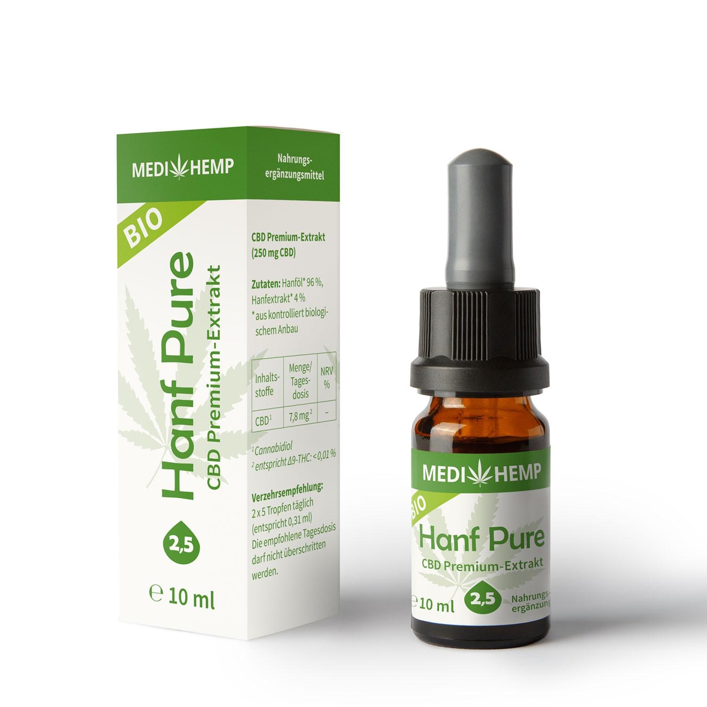 Medihemp Bio Hanf Pure Öl - 2,5 % - 10ml - 250 mg  CBD Aromaöl